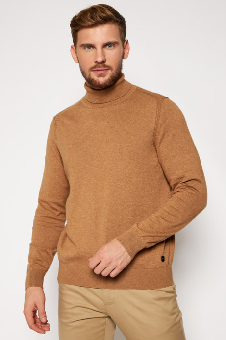 Bugatti - Taupe Turtle Neck, Cotton/Cashmere