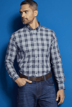 Load image into Gallery viewer, Bugatti -  Grey/Blue Check Shirt - Tector Menswear