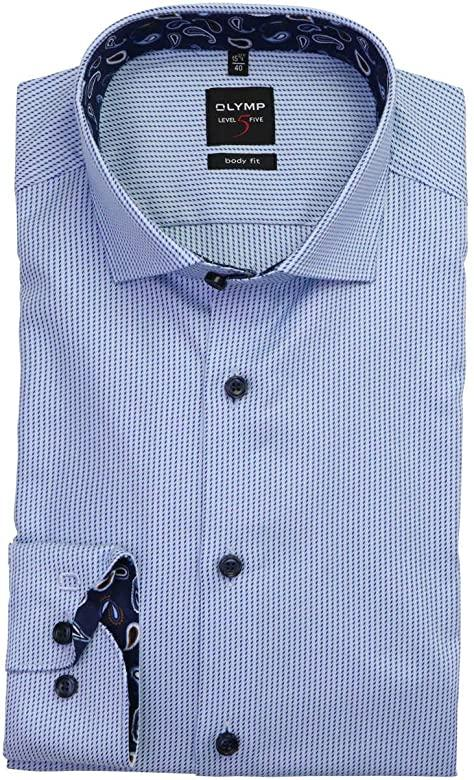 OLYMP -  Level Five Body Fit Blue Striped Pattern Shirt - Tector Menswear