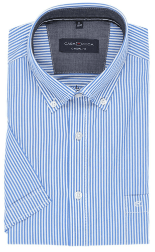 Casa Moda -  Classic Blue and White Stripe, Short Sleeve Shirt (M Only) - Tector Menswear