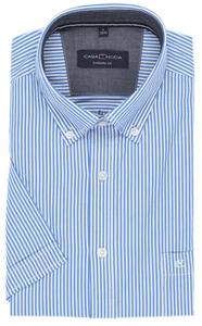 Casa Moda -  Classic Blue and White Stripe, Short Sleeve Shirt (M Only)