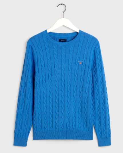 GANT - Cotton Cable Crewneck Jumper Ocean Blue