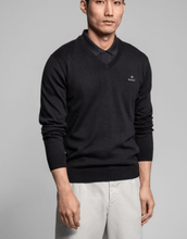 Load image into Gallery viewer, Gant - Classic Cotton V-Neck, Evening Blue - Tector Menswear