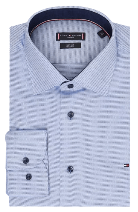 Tommy Hilfiger - Dobby Classic Shirt, Tailored in Blue - Tector Menswear