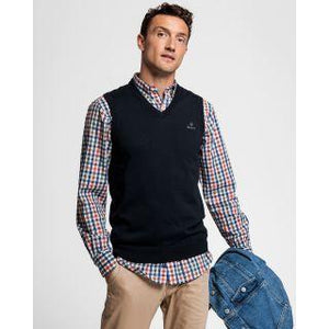 GANT - Classic Cotton Slipover, Evening Blue - Tector Menswear