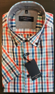 Casa Moda -  Multicolored Check, Short Sleeve Shirt