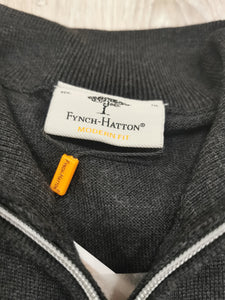 Fynch-Hatton - Merino Wool 1/2 Zip, Grey - Tector Menswear