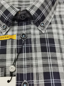 Bugatti -  Grey/Blue Check Shirt - Tector Menswear