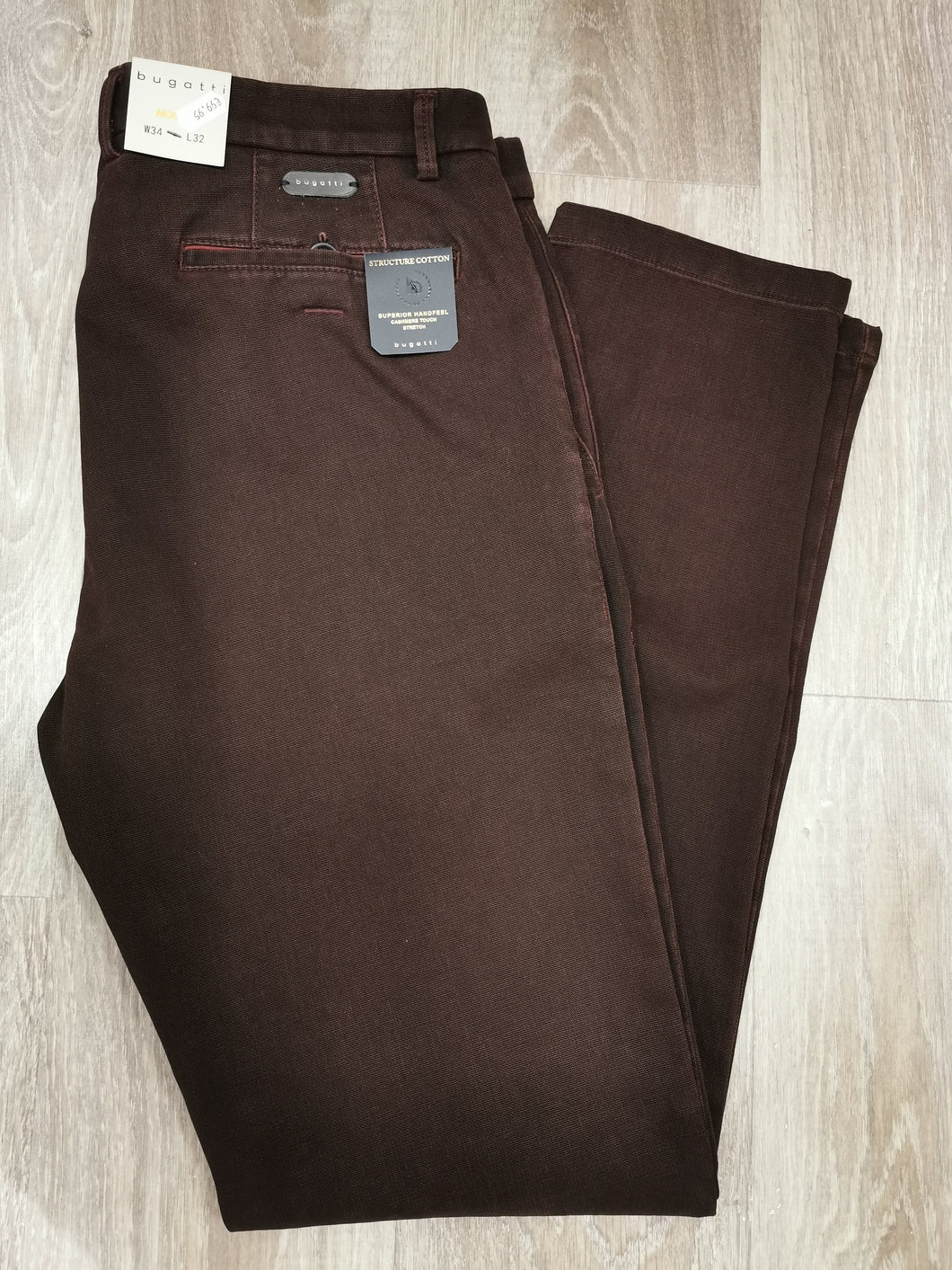 Bugatti - Modern Fit Chino In Bordeaux - Tector Menswear