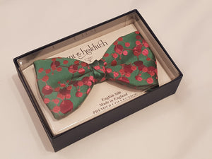 Premium Silk Bow Tie Red & Green Pattern