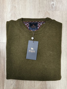 Magee - Lunnaigh, Lambswool Crew Knit, Forest Green