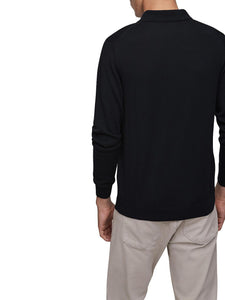Fynch-Hatton - Merino Wool Full Sleeve Polo, Navy - Tector Menswear