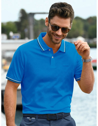 Bugatti - Polo, Blue with navy and white tipping (XL only) - Tector Menswear