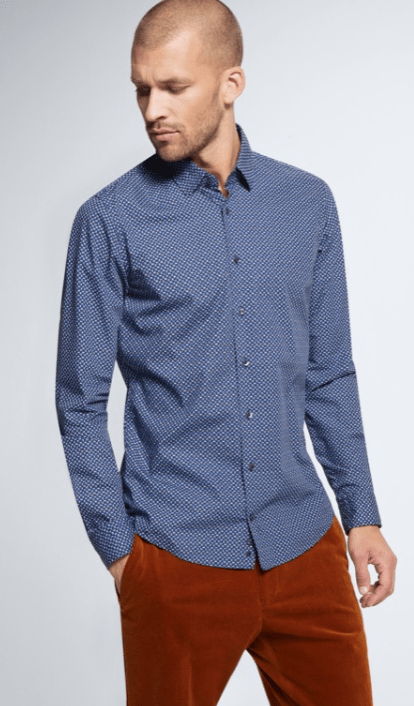 Strellson - Blue Patterned Slim Fit Shirt - Tector Menswear