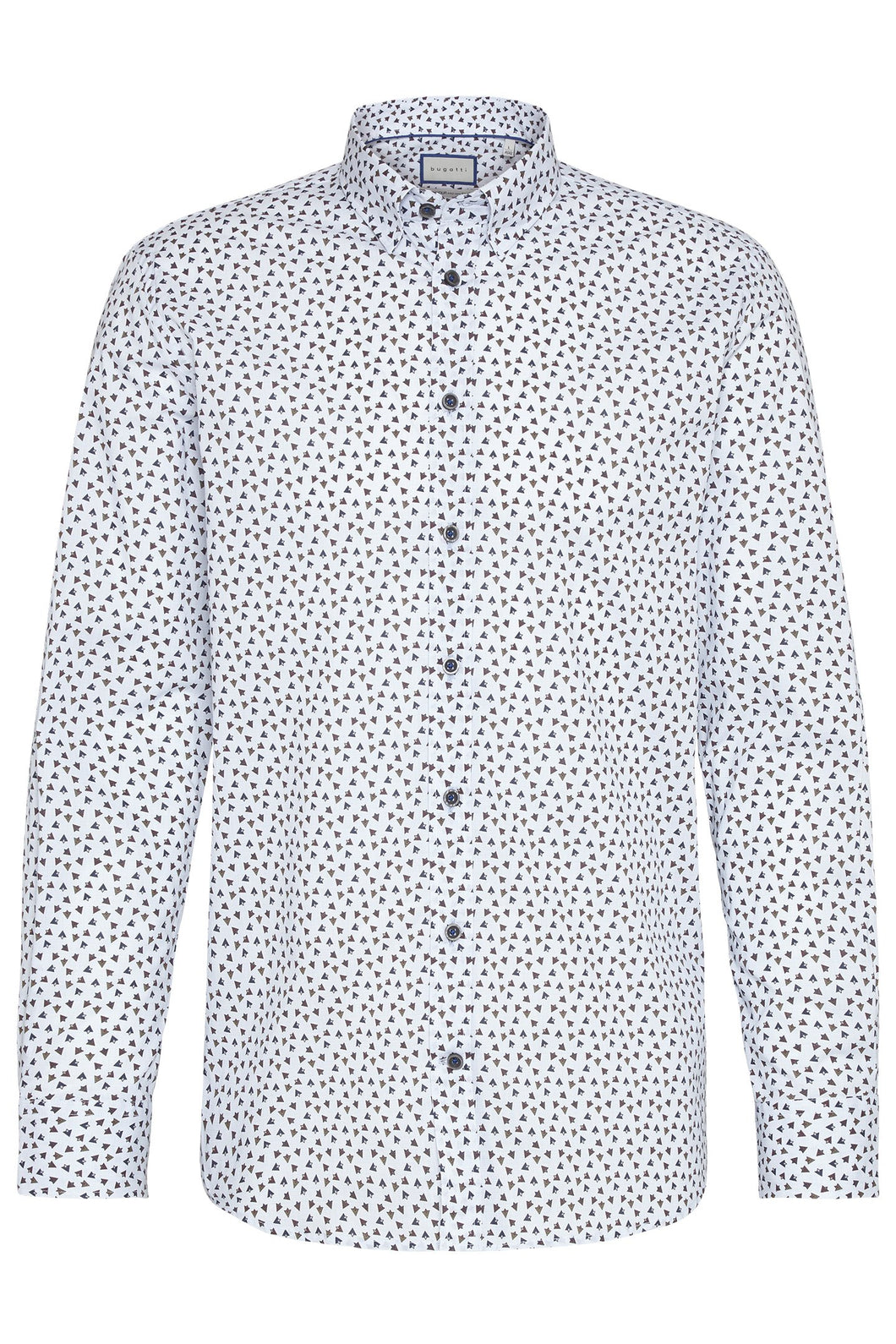 Bugatti - Blue Modern Fit Shirt, City Print - Tector Menswear