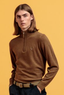 GANT - Superfine Lambswool Half Zip, Butternut Melange