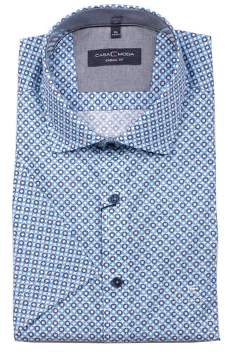 Casa Moda -  Blue/Navy Print, Short Sleeve Shirt - Tector Menswear