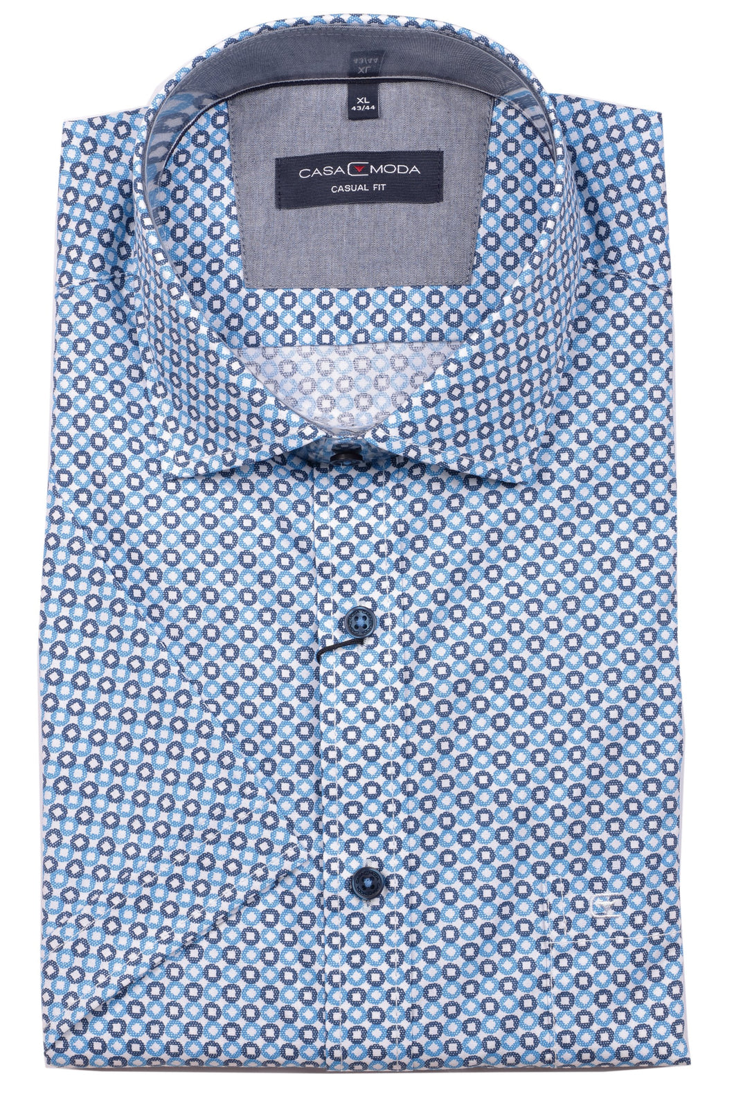 Casa Moda -  Blue/Navy Print, Short Sleeve Shirt