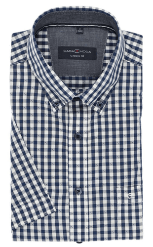 Casa Moda -  Blue Check ,Short Sleeve Shirt - Tector Menswear
