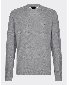 Tommy Hilfiger - Zig Zag Structured Crew Neck, Dark Grey - Tector Menswear