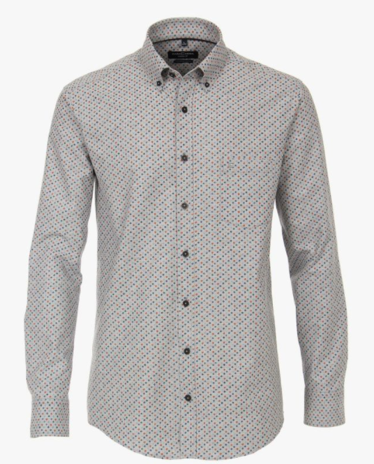 Casa Moda - Diamond Print Shirt, Light Grey
