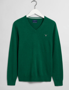GANT - Superfine Lambswool V-Neck , Kelly Green - Tector Menswear