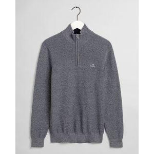 GANT - Marled Cotton Half Zip, Evening Blue - Tector Menswear