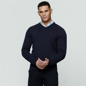 Magee - Navy 100% Cotton Jumper (XL Only) - Tector Menswear