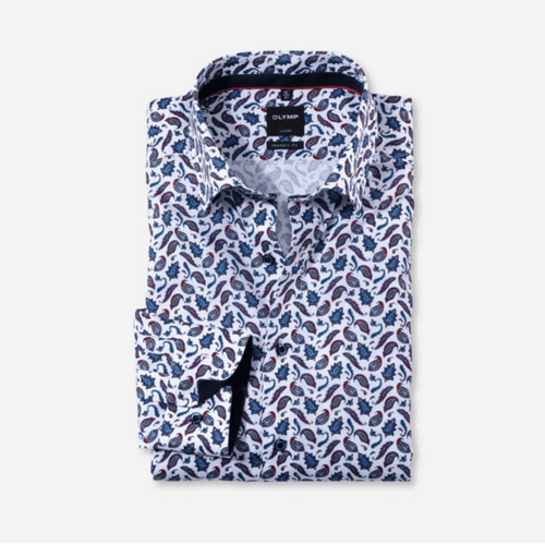 Olymp - Luxor, Modern Fit, Blue and Red Paisley Pattern - Tector Menswear