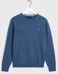 GANT - Superfine Lambswool Crew Neck , Stone Blue - Tector Menswear