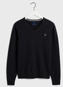 GANT - Superfine Lambswool V-Neck , Antract Grey - Tector Menswear