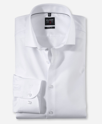 OLYMP Level Five, Body Fit, White twill - Tector Menswear