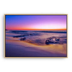 A purple sunset at North Cottesloe Beach in Western Australia framed canvas in raw oak