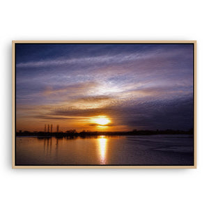 Abberton Reservoir framed canvas in raw oak