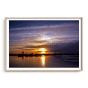 Abberton Reservoir framed in raw oak