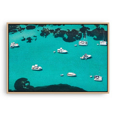 Aerial view of boats at Rottnest Island in Western Australia framed canvas in raw oak