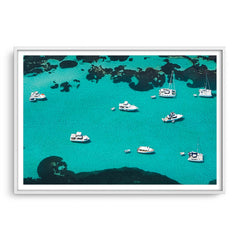 Aerial view of boats at Rottnest Island in Western Australia framed in white