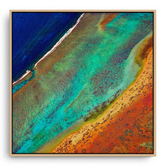 Aerial view of the Ningaloo Reef in Western Australia framed canvas in raw oak