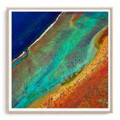 Aerial view of the Ningaloo Reef in Western Australia framed in raw oak