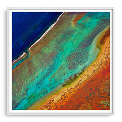 Aerial view of the Ningaloo Reef in Western Australia framed in white
