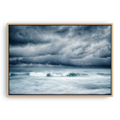 Winter storm approaching North Beach in Perth, Western Australia framed canvas in raw oak