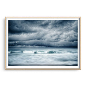 Winter storm approaching North Beach in Perth, Western Australia framed in raw oak
