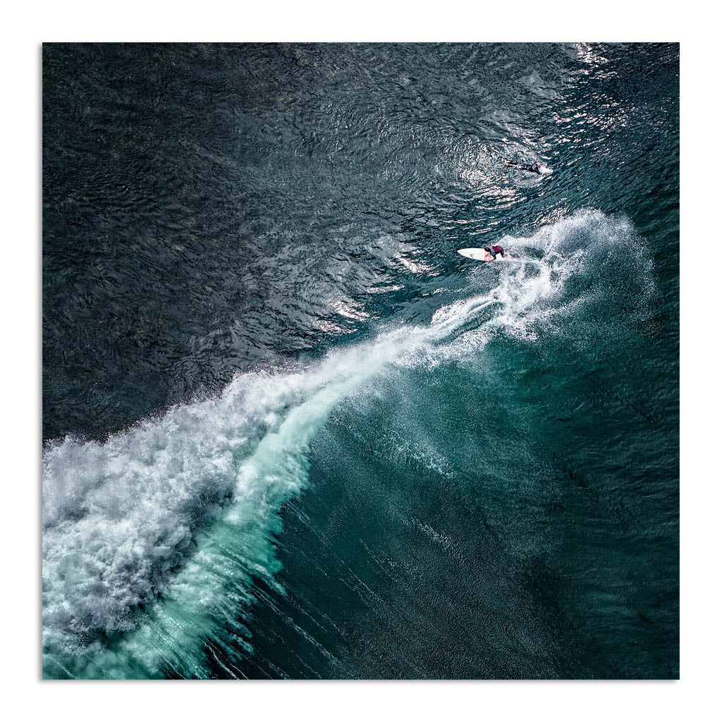 Aerial view of surfer at Margaret River Main Break in Western Australia