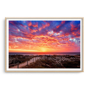 Sunset at Brighton Beach in Perth, Western Australia framed in raw oak