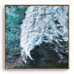 Aerial view of surfers at Margaret River Main Break in Western Australia  framed canvas in raw oak