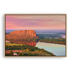 Elephant rock at sunset on Lake Kununurra in Western Australia framed canvas in raw oak