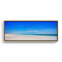 Blue skies at Cable Beach in Broome, Western Australia framed canvas in raw oak