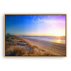 New Years Eve sunset at Trigg Beach in Perth, Western Australia framed canvas in raw oak
