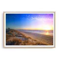 New Years Eve sunset at Trigg Beach in Perth, Western Australia framed in raw oak