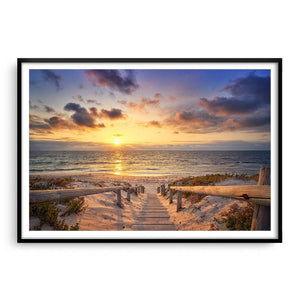 Beautiful golden sunset at North Beach in Perth, Western Australia framed in black
